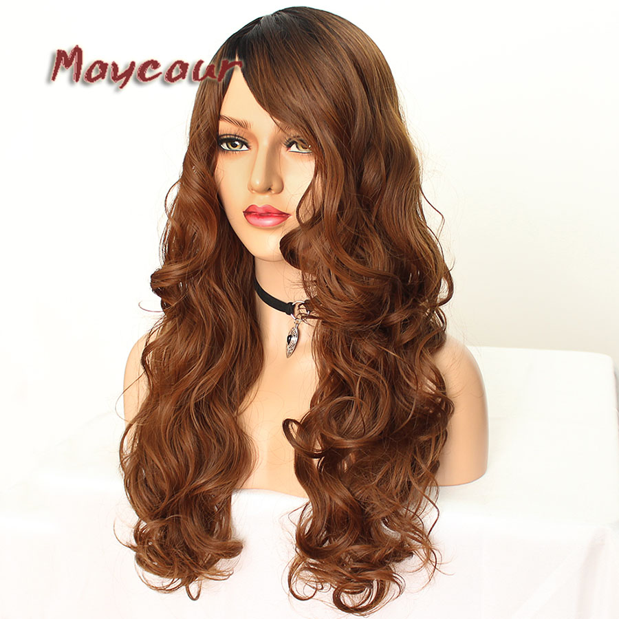 Maycaur Glueless Black Long Wavy Wig with Side Bangs Synthetic Hair Wigs for Women Heat Resistant Fiber Hair Wigs (10)