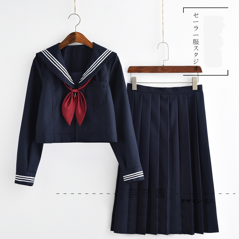 Japanese/Korean School Uniforms Sailor Suit Women Cosplay Costume Blouse Pleated Skirt Suit Preppy Style Seifuku Dress Navy
