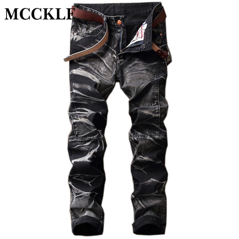 MCCKLE 2017 Mens Washed Pleated Rider Biker Jeans Men Hip Hop Hi-Street Denim Skinny Slim Fit Pants Stretch Jeans Trousers dsel designer men jeans slim fit straight denim thin stretch mens skinny biker jeans casual pants hip hop denim trousers