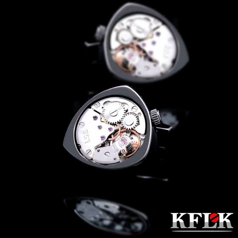 KFLK jewelry shirts cufflinks for mens Brand Black watch movement mechanical cuff links Buttons Male High