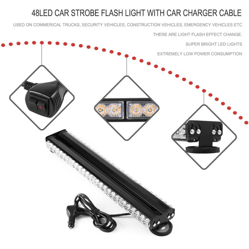 Новый 48 LED Ультра яркий автомобиль желтый свет 144W предупреждение аварийное освещение автомобиля Строба СИД Проблескивая лента Лампа тире лампы