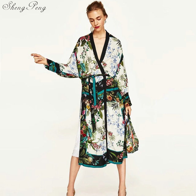 01fedbf3f Summer japanese kimono traditional yukata cardigan dress beach chiffon  blouse kimono vintage elegant floral print dress Q155