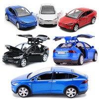 High Simulation 1 32 Tesla Model X90 Metal Model Acousto Optic Pull Back Toy Car 4