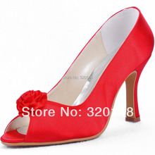 Wholesale & Reatil Customized Shoes EP11015 Red Peep Toe Handmade Flower High Heels Satin Wedding Bridal Women's Pumps