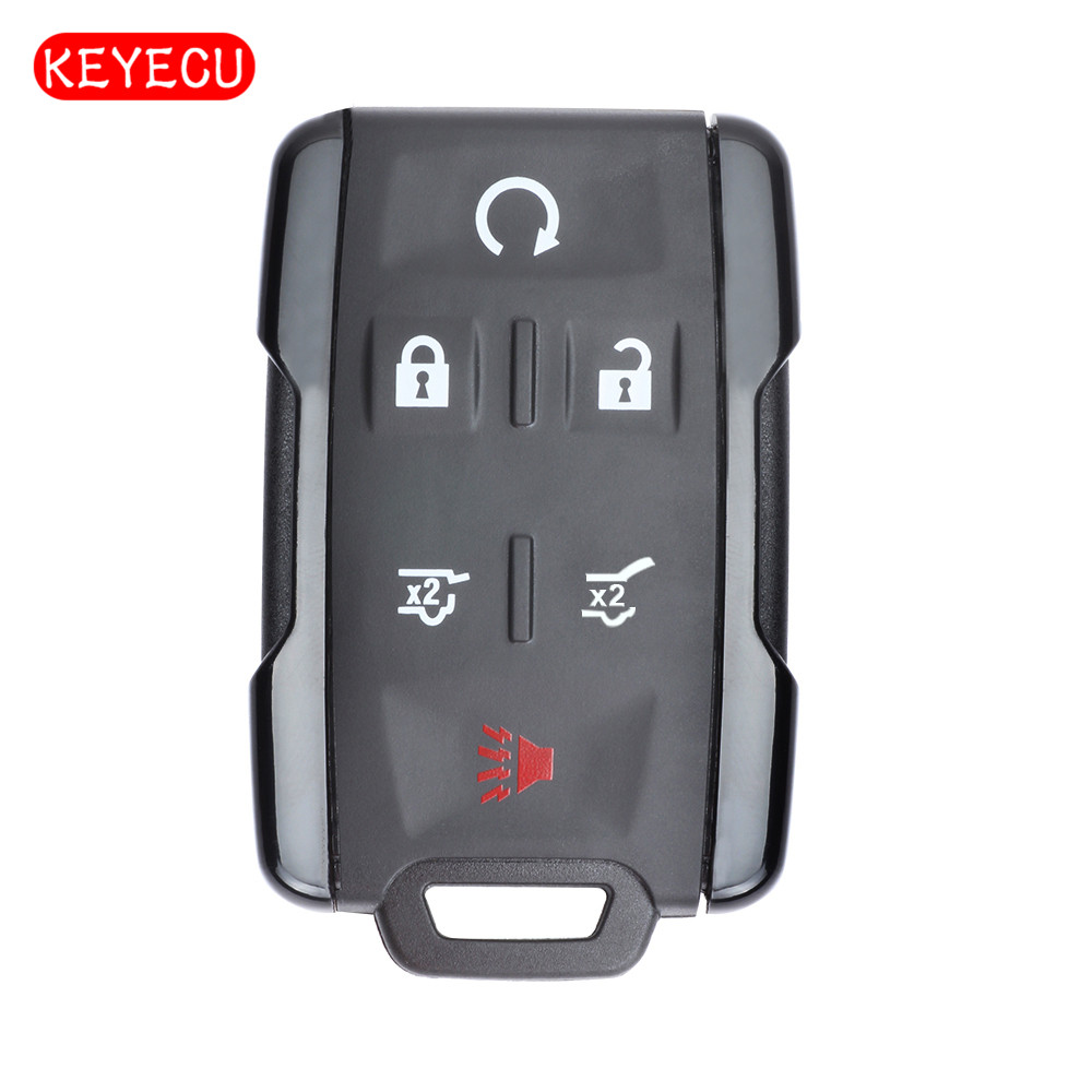 Keyecu Replacement 6 Button Remote Car Key Shell Case Fob for Cadillac Escalade 2015 2016 (Shell Only) FCC ID:M3N-32337100,