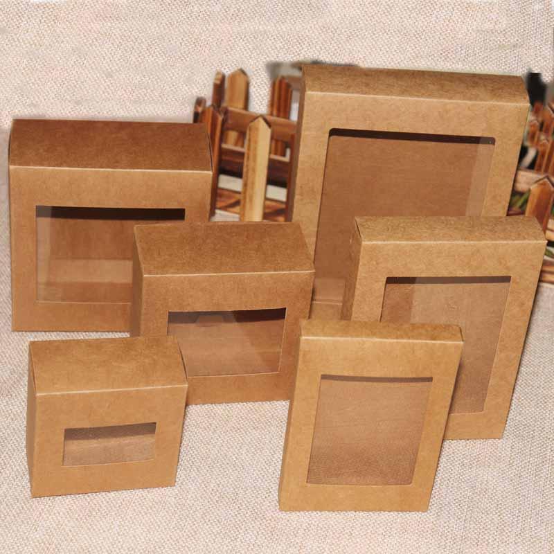 2018 20 шт. DIY Цветная Подарочная коробка из крафт-бумаги, посылка с прозрачным ПВХ окном, конфетная упаковка, коробка для выкладки предметов ис...