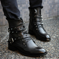 New Men Black Pointed Toe Rivets Buckle High Top Pu Leather Riding Boots