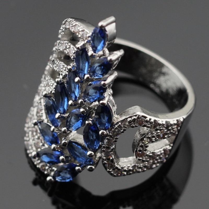 Ashley 2PCS μπλε πέτρες λευκό CZ ασημένια - Κοσμήματα μόδας - Φωτογραφία 3