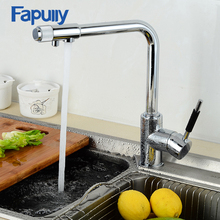 цена на Fapully Kitchen Faucet with Filtered Water Chrome Mixer Crane 3 way hot and cold Silver Brass Faucet Sink Tap Faucets 702-33C