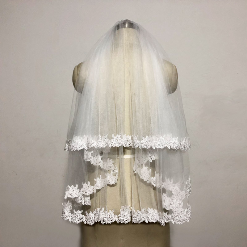 JIERUIZE In Stock Lace White Two Layers Wedding Veils Ribbon Edge with Comb High Quality Wedding Accessories Short Bridal Veil 6