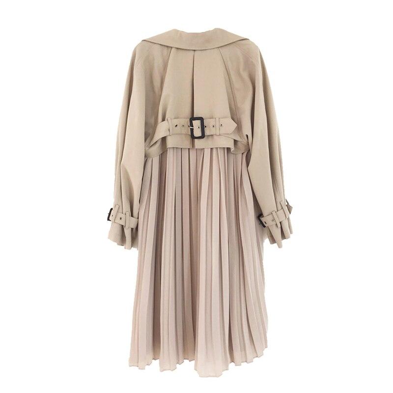 Shipp within 12hours Women Trench Coat Long 2020Pleated Chiffon Splice Coats Female Spring Elegant Outwear Loose
