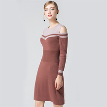 New 2018 Winter Casual Women Long Fashion Ladies Pullover Clothing Tops dress Strapless knitted  dress 7a116