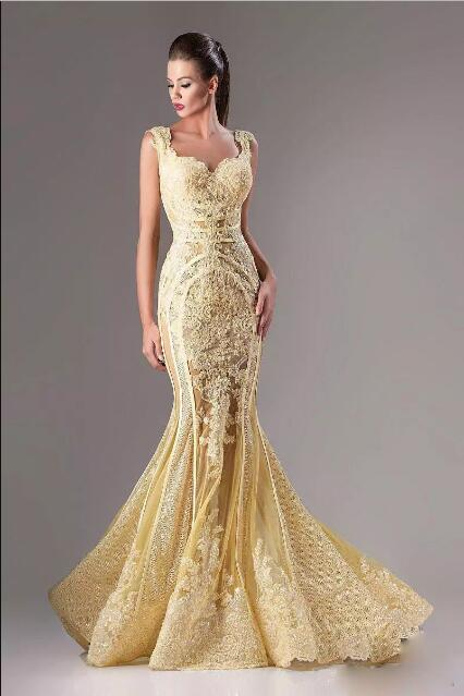 Elie Saab Wear Lace Applique Mermaid Evening Dress 2017 Evening party Gowns Sexy Sequins Illusion Long Arabic Formal Dress