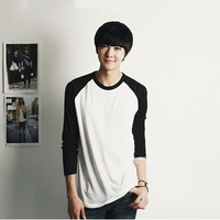 2015 Men Black White Raglan Long Sleeved T Shirt Cotton Man Clothing Boys Top Tshirts Japanese