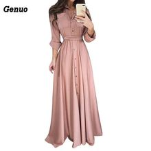Women Casual Maxi Dress Solid Color Bandage Elegant Slim Long Shirt Patchwork Belt Party Genuo Autumn Vestidos