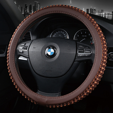 KKYSYELVA  New Leather Car Steering Wheel Cover Red 38cm Diameter Universal Size inner accessories Auto wheel covers