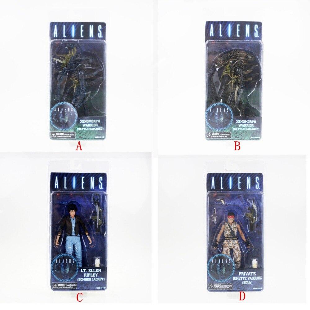 4pcs Neca Aliens Series 12 Action Figures Set Xenomorph Warrior Lt.Ellen Ripley Free Shipping neca aliens red alien with chestburster