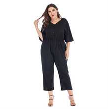 Overalls Jumpsuit Bodysuit Women Spring and summer new V-neck short-sleeved solid color large size jumpsuit combinaison femme цена и фото