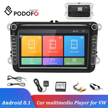 Podofo Car Radio Android 8.1 2Din Car MP5 Multimedia Video Player GPS Auto Radio Stereo 8''Audio For Seat/Skoda/Passat/Golf/Polo image