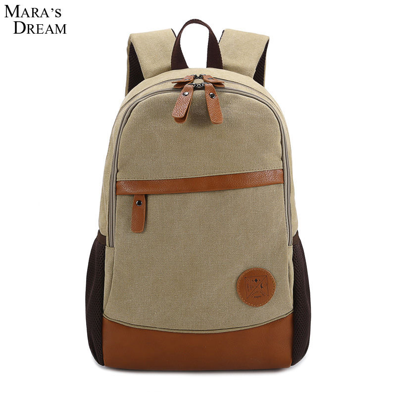 Mara s Dream Male Female Backpack Large Capacity Zipper Canvas Patchwork Hit Color Students School Bag