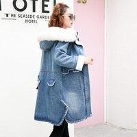 Oversized Jeans Denim Jacket Ladies Windbreaker Female Winter Bomber Women Spring Autumn Bomber Coat WIth Hat