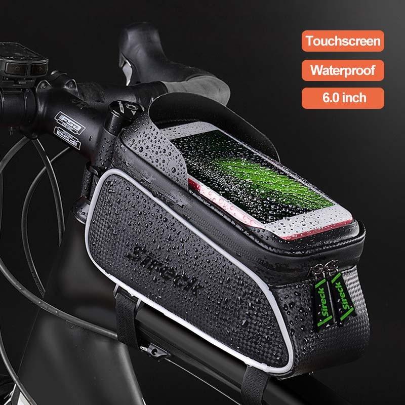 Sireck रोड बाइक साइकिल बैग चिंतनशील पनरोक सायक्लिंग शीर्ष सामने ट्यूब फ्रेम बैग 6.0 इंच टच स्क्रीन फोन के मामले में