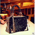 Foreign trade new woman sequined leopard package portable shoulder Messenger bag Korean fashion bag