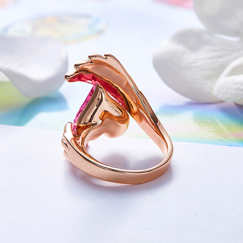 Gold Embellished crystals Angel Wings Heart Crystal Ring  2