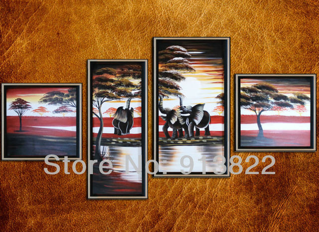 Free Shipping Oil Paintings on Canvas  Africa Scenery Decor your Home Gifts for Girls