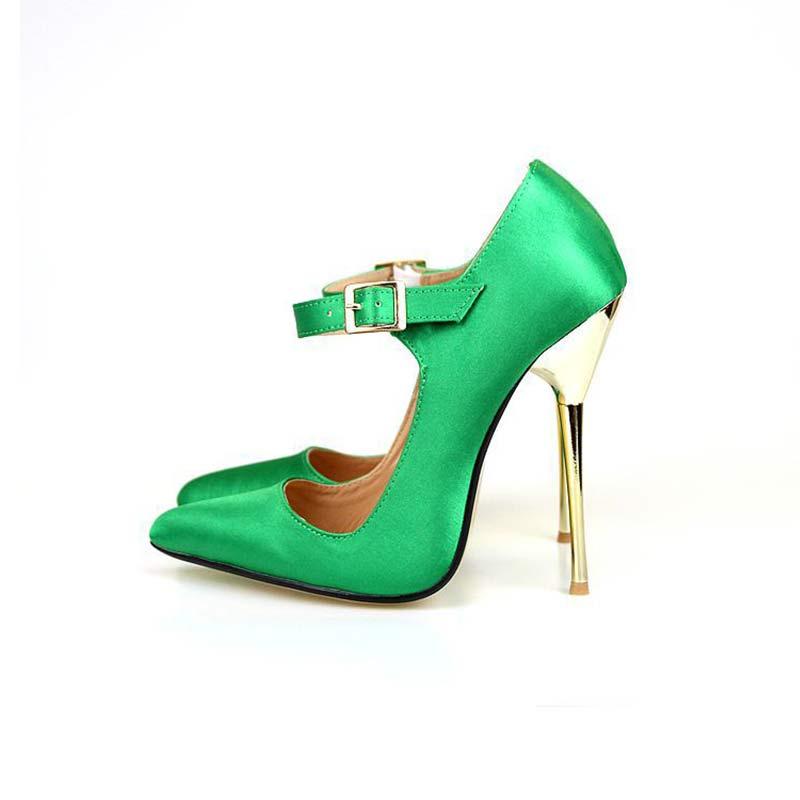 ФОТО brand Sandals Plus: 40-49 14 cm In High Heel Metal High Heels In Patent Leather Nude Low COS Pumps Women Wedding Shoes HSAA-5