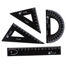 Drawing Tools Ruler 4 pieces bag Student Painting School Supplies Set Square Triangle Ruler Aluminum Protractor