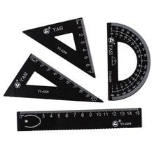 Zeichenwerkzeuge Lineal 4 teile / beutel Student Malerei Schulbedarf Set Quadrat Dreieck Herrscher Aluminium Winkelmesser / vier sätze