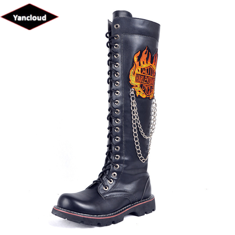 High Quality Military Boots for Men New 2018 Fall Winter Metal Chains Long Motorcycle Boots Mans Shoes Leather