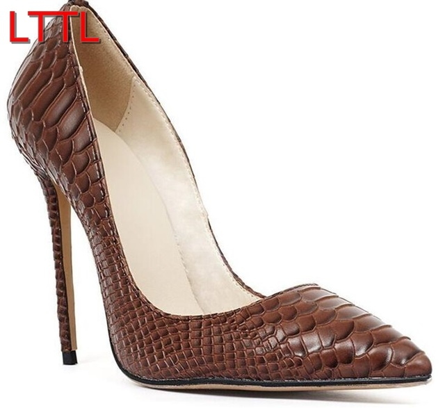 ba472b9029 2016 LTTL Women Pointy Toe Pumps Patent Leather High Heels Brown Pumps Snake  Skin Print High Heels Dress Shoes Thin Heels 12cm