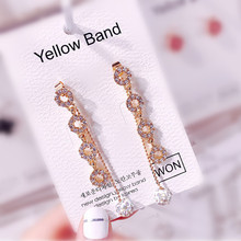Luxury Round Long Drop Earrings Gold Color Geometric  Rhinestone Earring for Women Party Jewelry Gift цена и фото