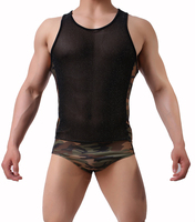 bodysuit sleeveless Mens Camouflage one piece Clothes Mens Sexy Lingerie Panties Man Briefs Mesh Stitching camouflage underwear
