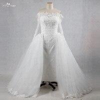 RSW1070 Saudi Arabia Dance Party Tea Length Inside Dress Heavy Bead Off The Shoulders Long Sleeve Detachable Wedding Dress Skirt