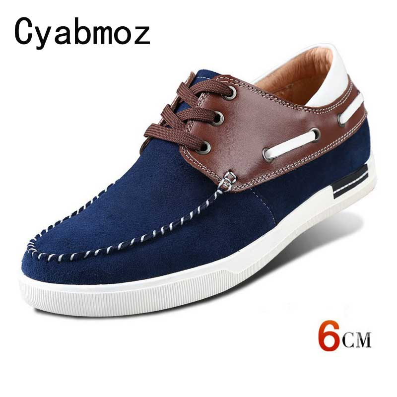 New Mens Comfortable Calf   Leather   Height Increasing Hidden Heels Elevated Shoes Taller 6cm for Boys   Suede   Sneakers Casual Shoes