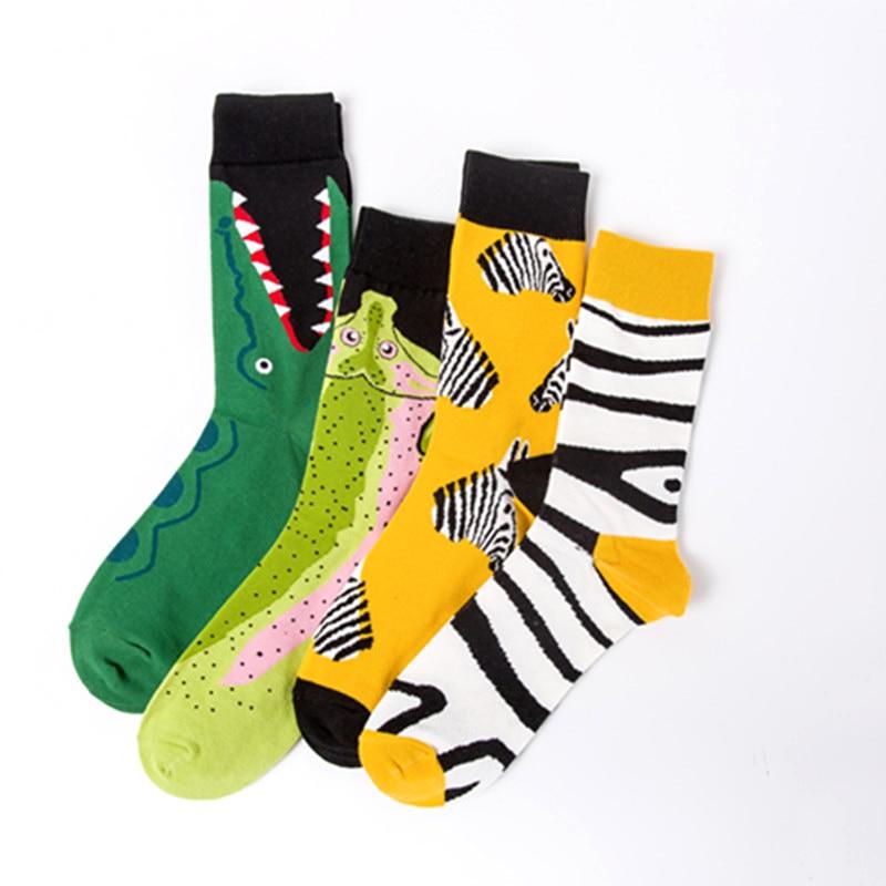 Zebra Crocodile Salmon Personality Fashion Colorful Casual Happy Mens Cotton Socks Men Socks Funny Socks Premium Socks