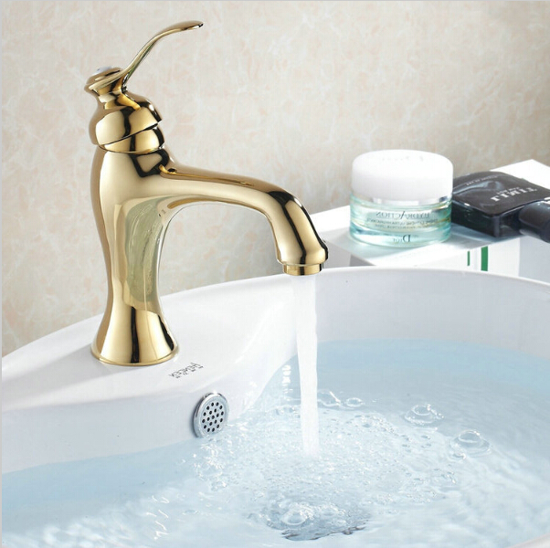 Wholesale and Retail  Golden Basin Mixer Taps Single Handle Deck Mounted Torneira Banheiro Sink Faucet  G1011Wholesale and Retail  Golden Basin Mixer Taps Single Handle Deck Mounted Torneira Banheiro Sink Faucet  G1011