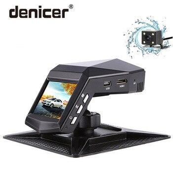 Denicer coche Dvr cámara de doble lente Dash Cam Full HD 1920x1080 P grabador de vídeo Cámara Registrador con retrovisor cámaras G -sensor