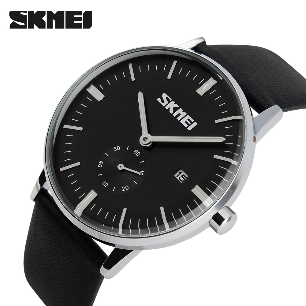 Skmei Watches Men Luxury Brand Leather Strap 30m Waterproof Relogio Masculino Fashion Analog Men's Wristwatch Quartz Watch 2018 skmei men s quartz watch fashion watches leather strap 3bar waterproof luxury brand wristwatches clock relogio masculino 9106
