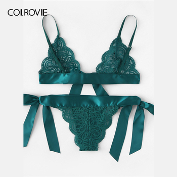 COLROVIE Green Tie Side Scalloped Trim Ribbon Lace Lingerie Set 1