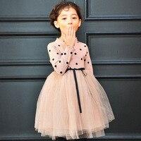 طويلة الأكمام اللباس للطفل بنات الأسود نقطة الوردي اللباس أزياء ملابس أطفال الخريف الشتاء الدافئة اللباس للحزب عيد اللباس