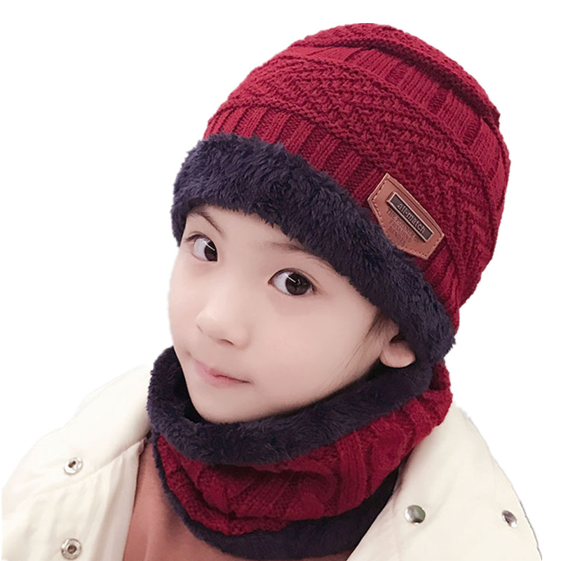 New Children Winter Thick Hat And Scarf Set For Boys Girls Plus Velvet Knitted Cap Collar Kids Fleece Skullies Beanies Balaclava