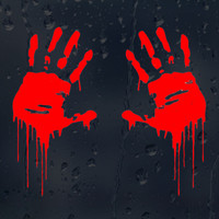sticker motorcycle accessories 7.5*15CM Zombie Bloody Hands Print Funny Vinyl Car Sticker Styling Motorcycle Window Decal Accessories Black White Red (2)