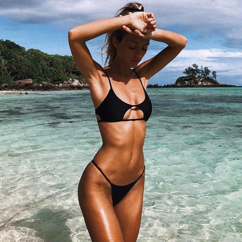 Hollowed Red Sexy Bikini Set Women String Swimsuit Push Up Swimwear 2019 Tied Thong Brazilian Bikini Bathing Suit Swim Wear 3