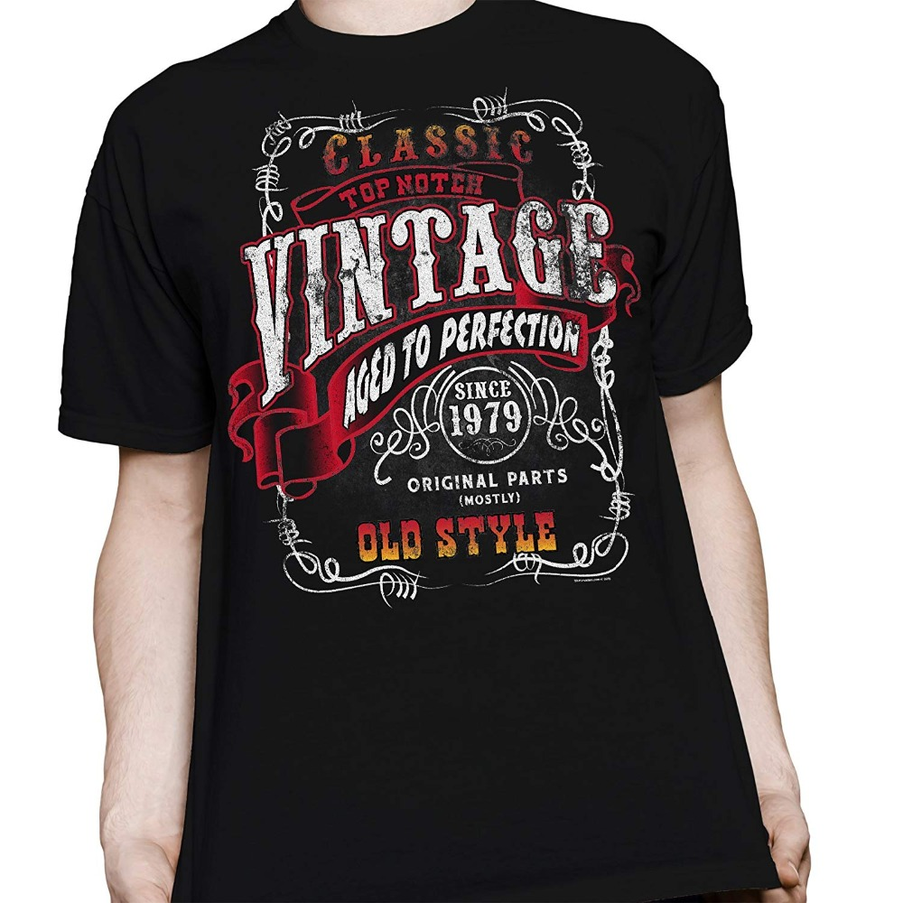 T-Shirts 2019 Brand Clothes Slim Fit Printing 40th Birthday Gift Shirt <font><b>Vintage</b></font> <font><b>1979</b></font> Aged to Perfection image