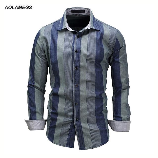 Aolamegs Полосатые рубашки Для мужчин лоскутное Цвет Длинные рукава мужские повседневные платья Модная брендовая джинсовая Стиль хлопка Camisa Рубашки для мальчиков