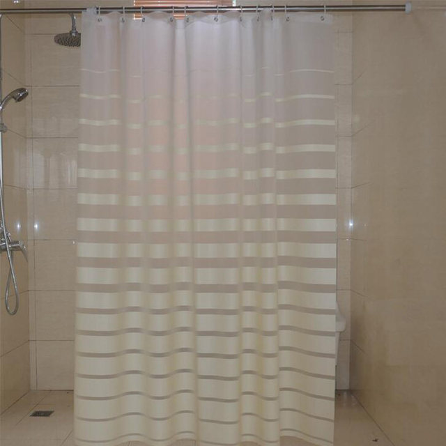 Plastic Shower Curtains PEVA White Striped Bath Screen For Home Hotel Bathroom Waterproof Mold Proof Curtain With Hooks